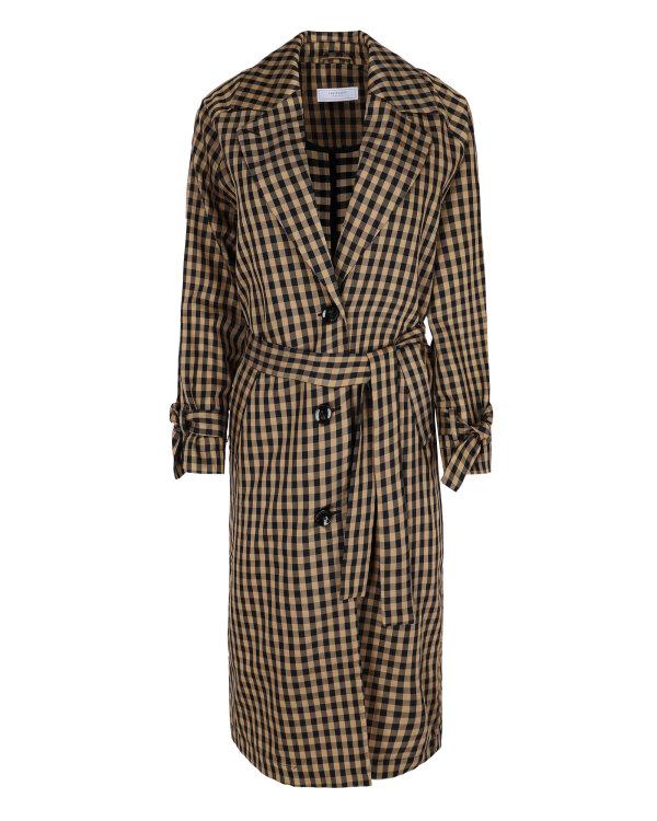 Płaszcz Fraternity WL19_W-COA-0087_BLACK CHECK brązowy