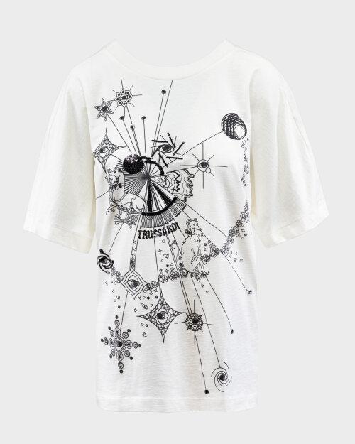 T-Shirt Trussardi Jeans 56T00333_1T005061_W009 Biały Trussardi  56T00333_1T005061_W009 biały