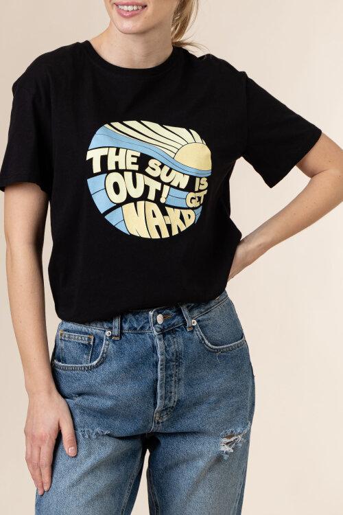 T-Shirt Na-Kd 1660-000227_BLACK czarny