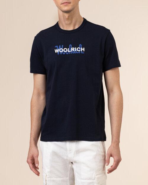 T-Shirt Woolrich CFWOTE0048MRUT1486_3989 granatowy
