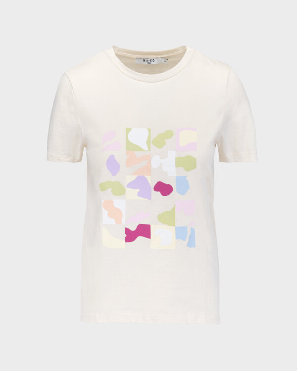 T-Shirt Na-Kd 1018-006871_BEIGE kremowy