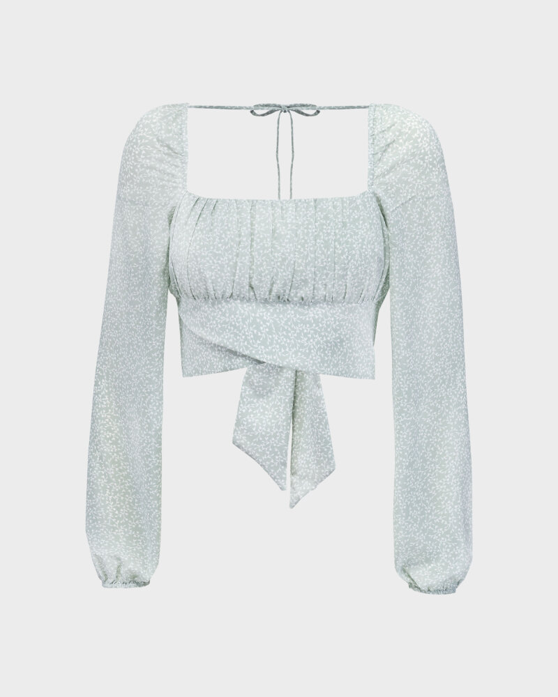 Bluzka Na-Kd 1659-000080_MINI LEAVES jasnozielony - fot:1