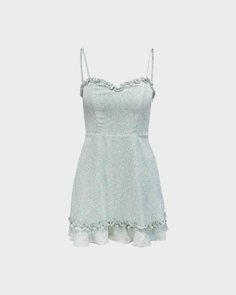 Sukienka Na-Kd 1659-000070_MINI LEAVES jasnozielony - fot:1