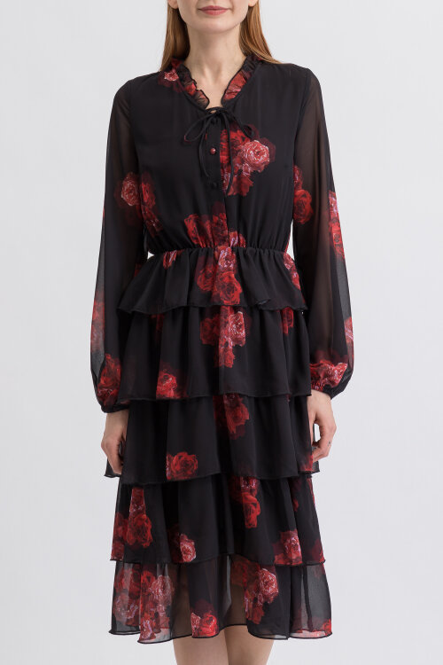 Sukienka Na-Kd 1018-003533_FLOWER PRINT czarny