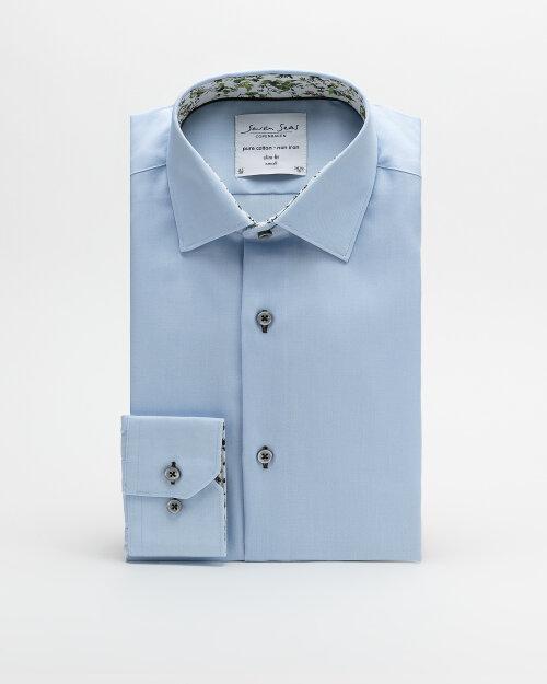 Koszula Seven Seas FINE TWILL W/BLOSSOM_742 niebieski