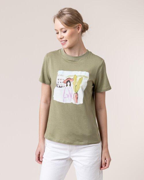 T-Shirt Na-Kd 1018-004134_KHAKI GREEN zielony
