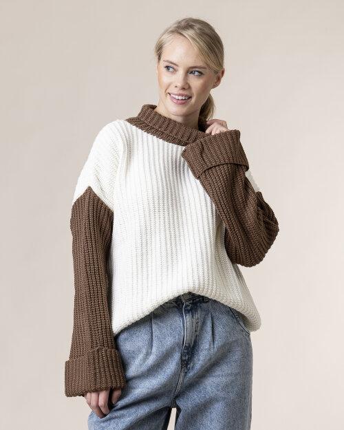 Sweter Na-Kd 1100-003636_WHITE/BROWN biały